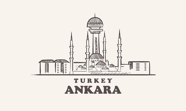 Croquis de paysage urbain d'ankara illustration de la turquie dessinés à la main