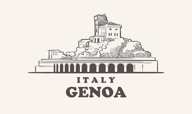 Croquis de paysage urbain de gênes illustration de l'italie dessinée à la main