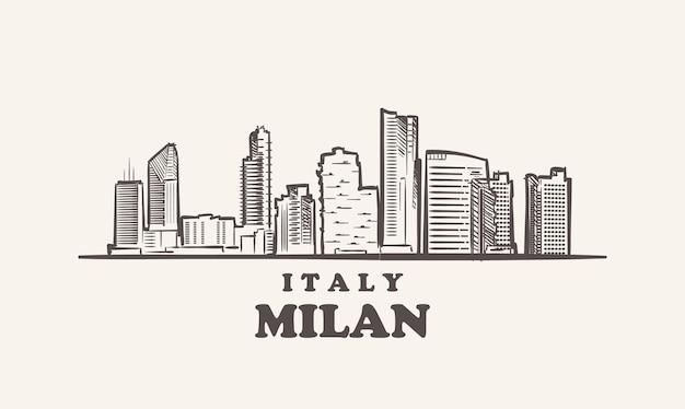 Croquis de paysage urbain de milan illustration de l'italie dessinée à la main