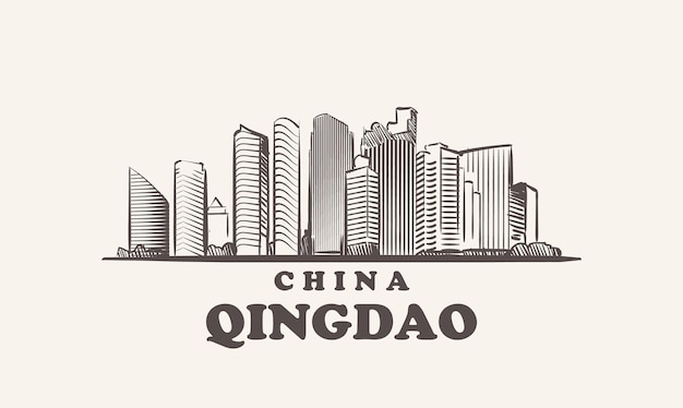 Croquis de paysage urbain de qingdao illustration de chine dessinée à la main