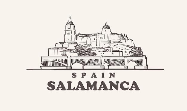 Croquis de paysage urbain de salamanque illustration d'espagne dessiné à la main