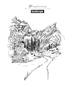 Croquis de paysages de montagne et village de montagne