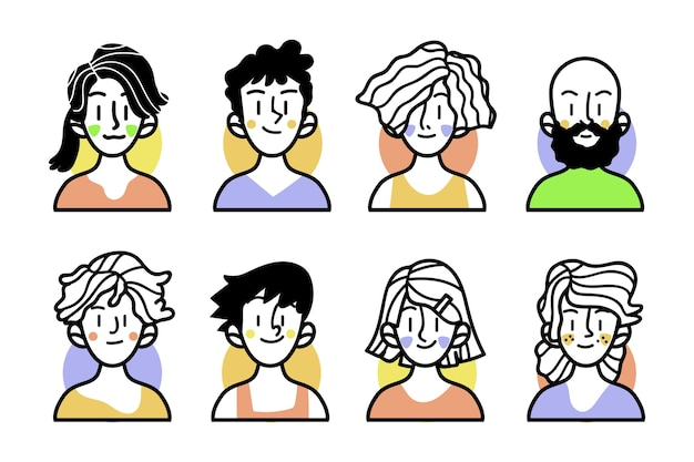 Croquis de personnes avec des vêtements colorés