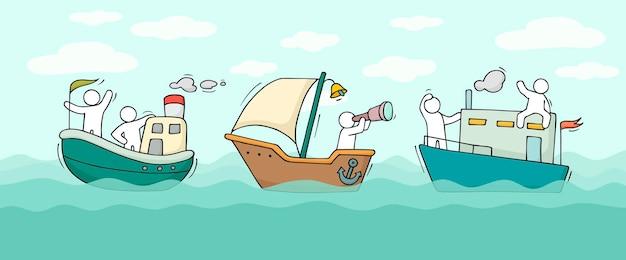 Croquis de petit homme naviguant en bateau. illustration vectorielle de dessin animé dessinés à la main pour la conception de vacances.