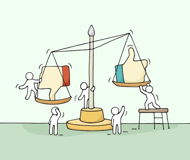 Croquis de petites personnes qui travaillent avec une échelle. doodle scène miniature mignonne de travailleurs choisissant entre aimer et ne pas aimer. caricature dessinée à la main pour la conception de médias sociaux.