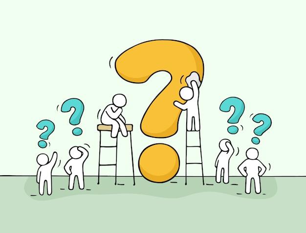 Croquis de petites personnes qui travaillent avec une grande question.