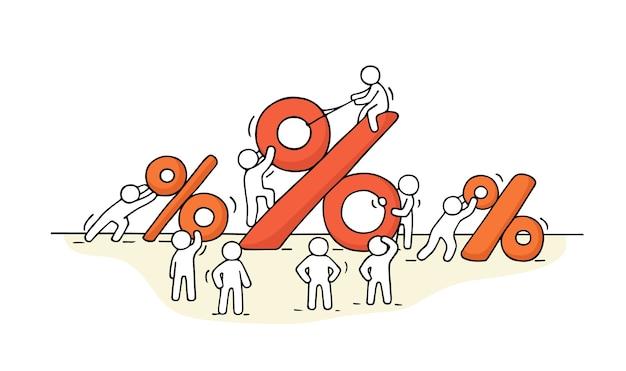 Croquis de petites personnes qui travaillent avec de grands signes de pourcentage.