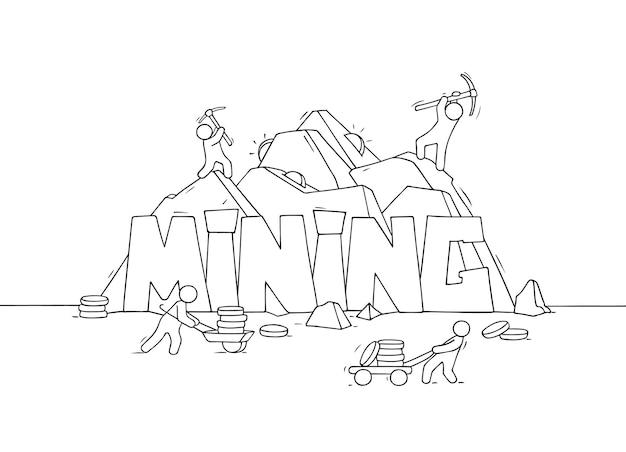 Croquis de petites personnes avec word mining. griffonnez une jolie scène miniature sur la production de crypto-monnaie. illustration vectorielle de dessin animé dessinés à la main.