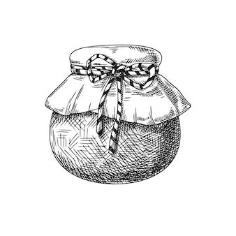 Croquis de pot avec du miel, de la confiture, des conserves isolées sur fond blanc. vecteur