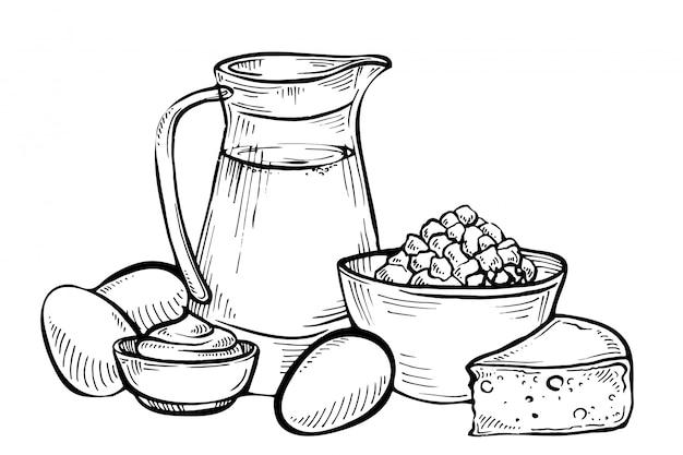 Croquis de produits laitiers. lait et produits fermiers