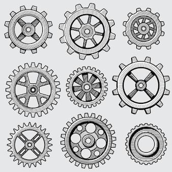 Croquis rétro engrenages mécaniques. pièces dessinées à la main vintage de roue dentée d'illustration vectorielle usine