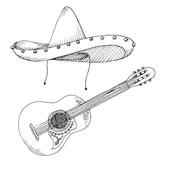 Croquis de sombrero et guitare isolé