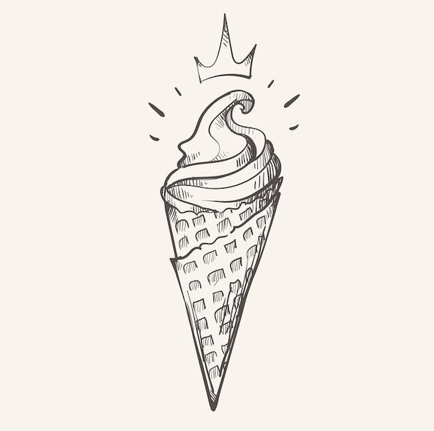 Croquis de sundae cornet de crème glacée royal