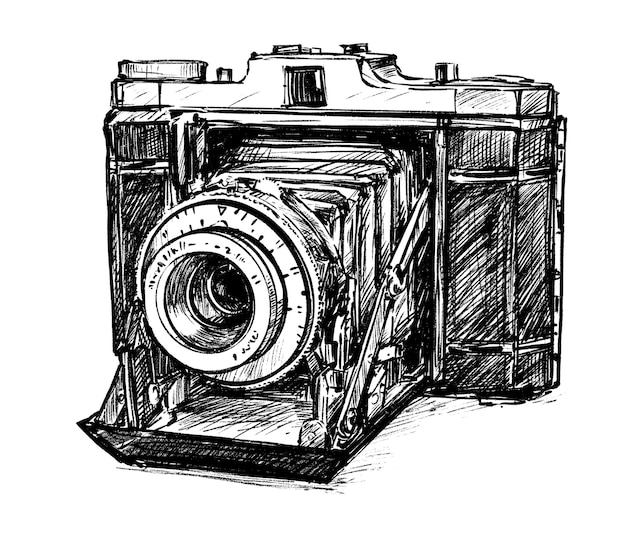 Croquis de tirage à la main de l'appareil photo vintage