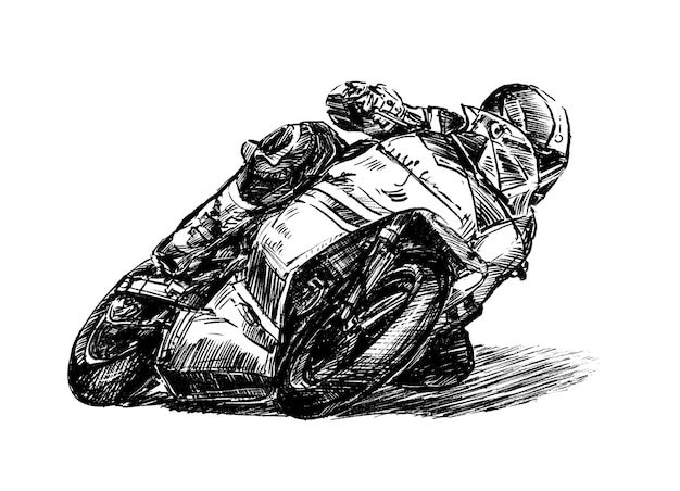 Croquis de tirage de main de course de moto