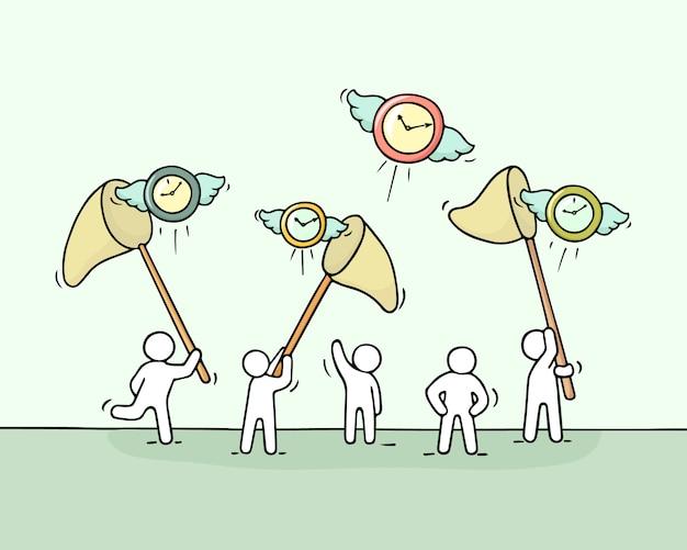 Croquis de travail de petites personnes avec des horloges volantes.