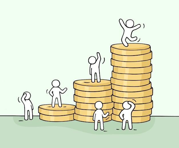 Croquis de travail de petites personnes avec une pile de pièces.