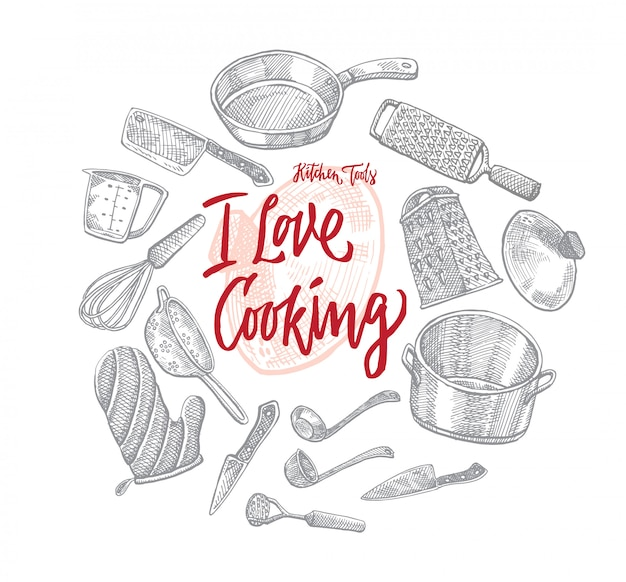 Croquis d'ustensiles de cuisine concept rond