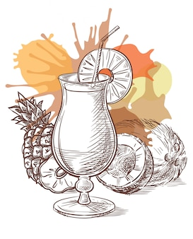 Croquis de vecteur cocktail pina colada