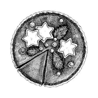 Croquis de vecteur de gâteau au chocolat gâteau de cuisson dessiné à la main avec des éléments de décoration de noël
