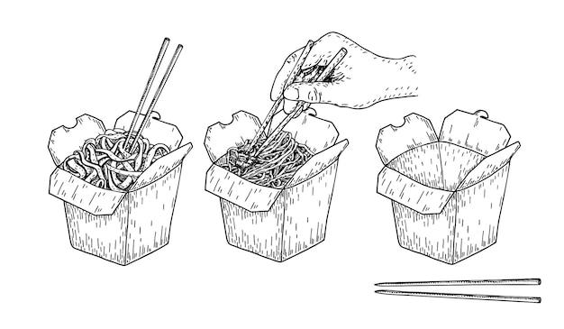 Croquis de vecteur de nouilles de riz boîte chinoise isolée et baguettes avec nouilles et légumes