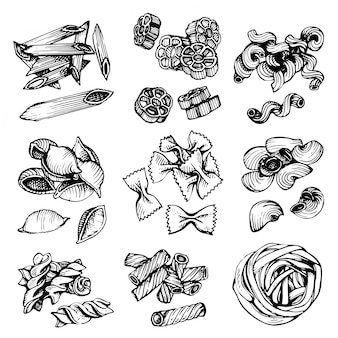 Croquis de vecteur de pâtes italiennes. illustration vectorielle dessinés à la main de macaronis. ensemble de croquis de pâtes.