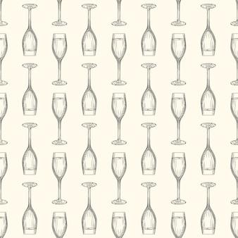 Croquis de verre de champagne plein dessinés à la main.