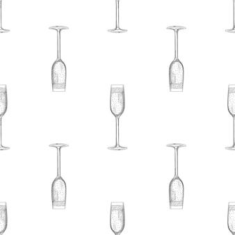 Croquis de verre de champagne vide dessiné à la main.
