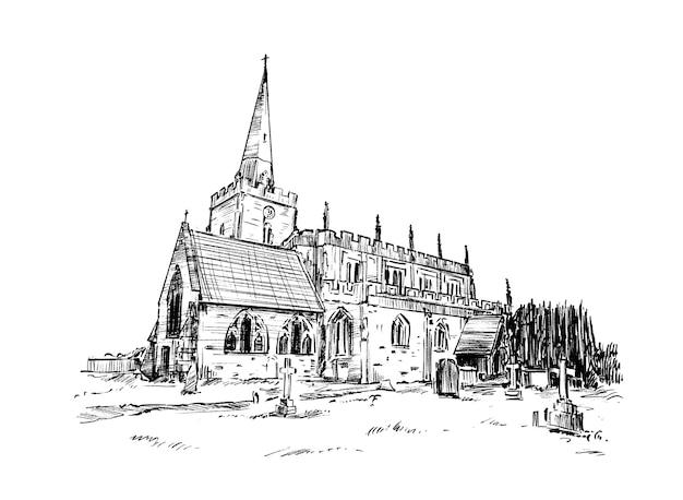 Croquis de la vieille église en pierre dessiner à la main