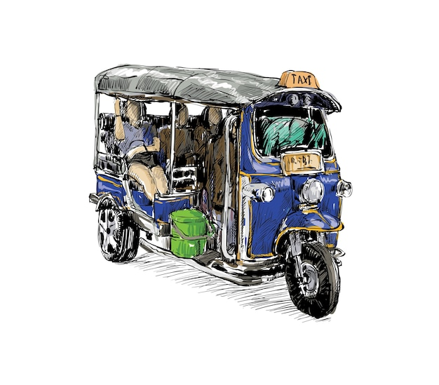 Croquis de la ville de transport montrent la moto de taxi traditionnel tuk-tuk en thaïlande, illustration