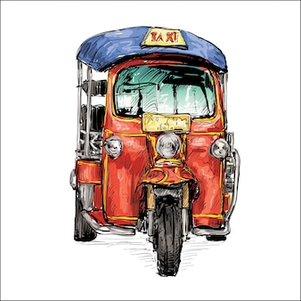 Croquis de la ville de transport montrent un tricycle à moteur de taxi traditionnel en thaïlande, illustration