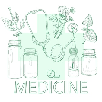 Croquis vintage d'éléments de phytothérapie dessinés à la main