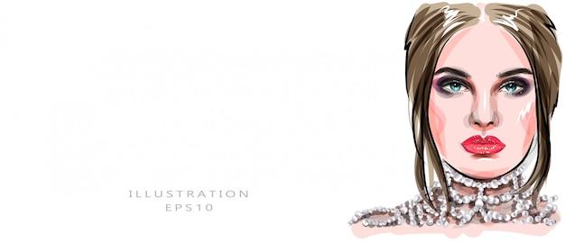 Croquis de visage de belle jeune femme dessiné à la main. imprimé fille glamour élégant. illustration de mode pour la conception d'un salon de beauté, fond de carte de visite de maquilleuse.