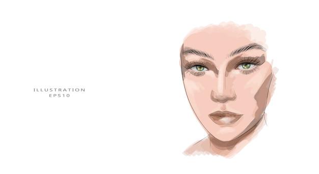 Croquis de visage de belle jeune femme dessiné main