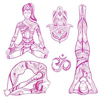 Croquis, yoga, femmes, icône, ensemble