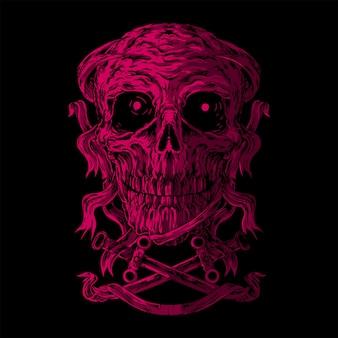Crossbones, ilustration skull light