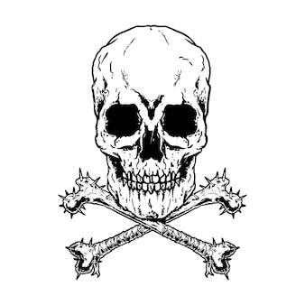 Crossbones, mortel skull danger poison. design noir et blanc