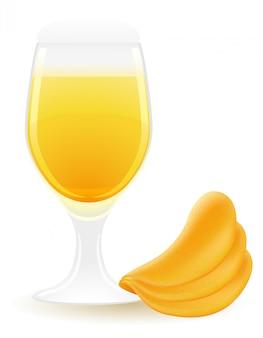 Croustilles avec illustration vectorielle bière