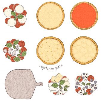 Croûte de pizza et garniture végétarienne