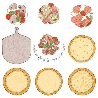 Croûte de pizza et nappage végétarien