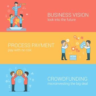 Crowdfunding flat linéaire, vision d'entreprise, ensemble de traitement des paiements. pyramide du leadership des hommes d'affaires. processus de paiement. couple tenant la pièce.