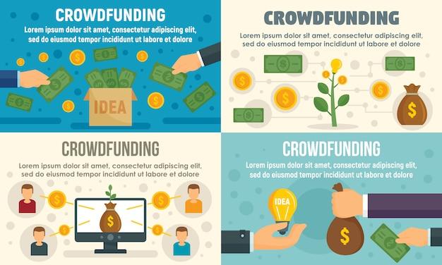 Crowdfunding invest banner set