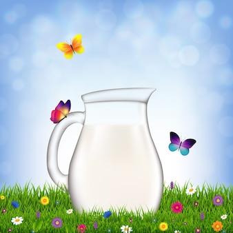 Cruche avec du lait et de l'herbe et des fleurs avec un filet de dégradé, illustration
