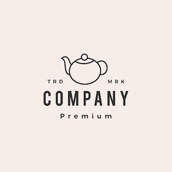 Cruche à thé hipster logo vintage