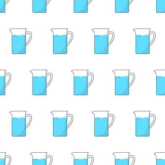 Cruche en verre avec de l'eau modèle sans couture sur un fond blanc. illustration vectorielle de pichet thème
