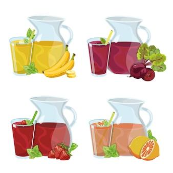 Cruches et verres avec jus de fruits sains boisson vitaminée banane fraise betterave jus de pamplemousse