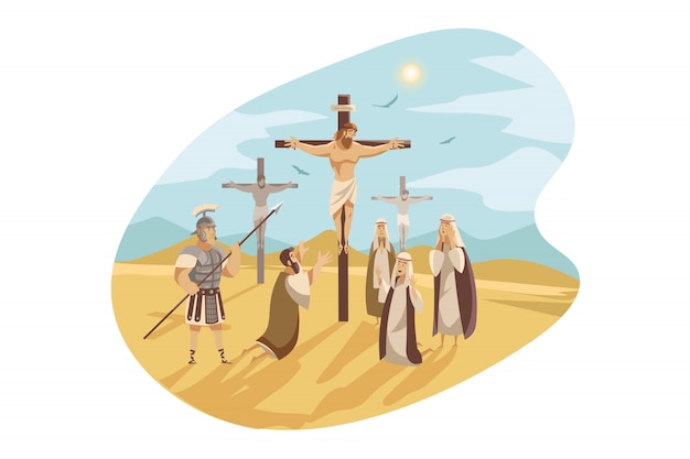 Crucifixion du christ, concept de la bible
