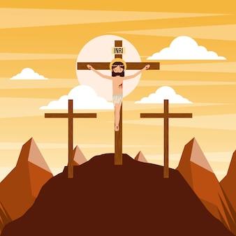 Crucifixion de jésus christ trois croix au coucher du soleil