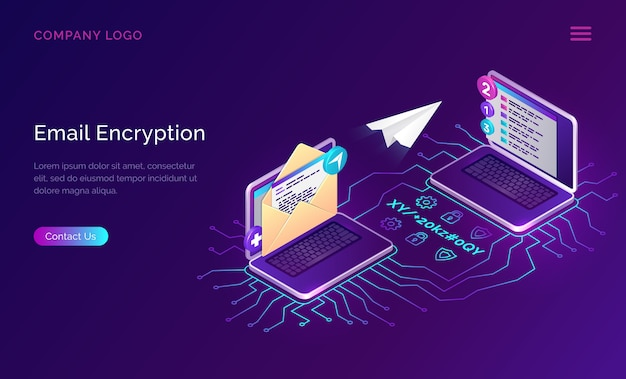 Cryptage des e-mails, sécurité des données du concept isométrique