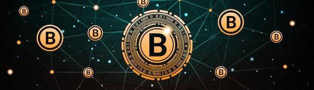 Crypto currency bannière horizontale bitcoin digital web money technologie
